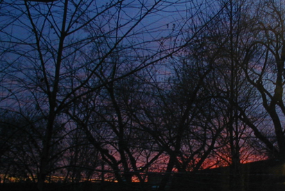 an old digital photograph of a sunset, as seen from my old bedroom in lincolnwood